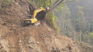 JCB Excavator VS Scary Hill and Big Tree-JCB Making Road Cutting Hill-Part 1