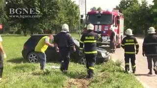 Лек автомобил се преобърна на входа на Русе заради висока скорост