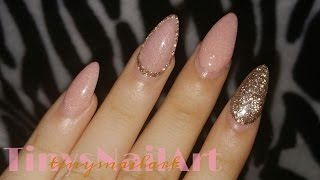 Rose Gold & Glitter Almond Nails