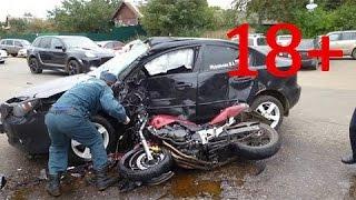 # 2 18+ Аварии мотоциклистов июнь 2016, ХРУСТы поехали!  Подборка жестоких ДТП