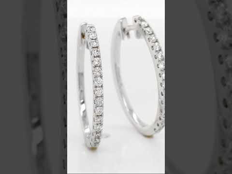 Aretes CyC Colección Classic con diamantes en oro blanco de 18k
