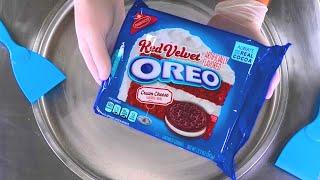 OREO Red Velvet Ice Cream Rolls   how to make Oreo Red Velvet Cookies rolled Ice Cream - ASMR Food