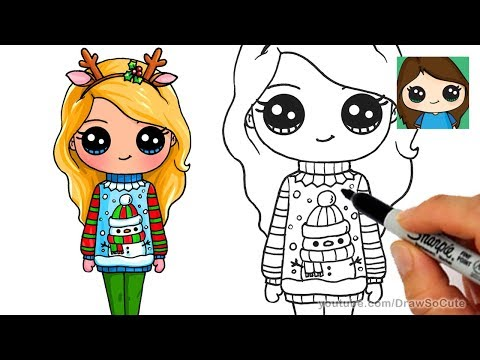 How To Draw A Cute Girl In Christmas Ugly Sweater Kulinarnye Recepty