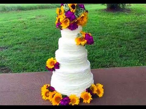 Making A Ribbon Buttercream Wedding Cake!