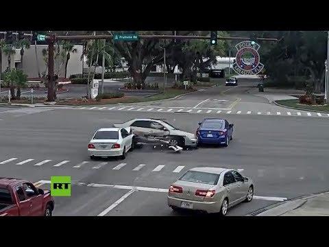 La importancia de respetar los semáforos: este accidente en EE.UU. podría haber costado vidas