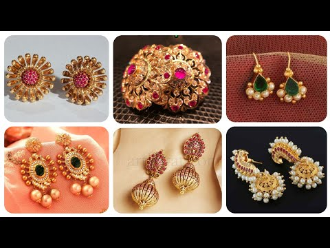 Outstanding And Latest Gold Stud Earrings Designs With Ruby Pearl Emerald