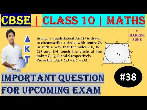 #38 CBSE | 2 Marks | In Fig., a quadrilateral ABCD is drawn to circumscribe a circle, with centre O, in such a way that the sides AB, BC, CD and DA touch the circle at the points P, Q, R and S respectively.  Prove that: AB+ CD = BC + DA. | Class X | IMP Q