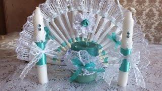 Смотреть онлайн Подарок на свадьбу: декорируем свадебные свечи