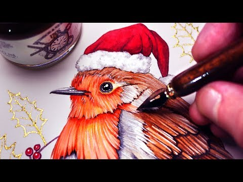 WATERCOLOUR and GOLD INK - CHRISTMAS PAINTING