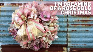 Recycling My Christmas Tree Into A Rose Gold Deco Mesh Wreath -- 38 Woodland Ruffle