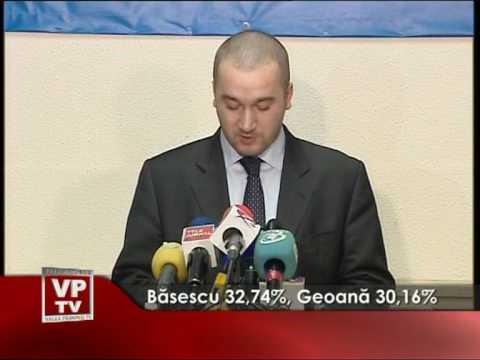 Bãsescu 32,74%, Geoanã 30,16%