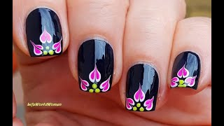 BLACK NAILS With Neon Pink FLOWER NAIL ART Design