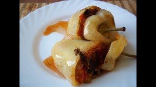 Перец, фаршированный овощами. Перец, запеченный в духовом шкафу. Гарнир из овощей..