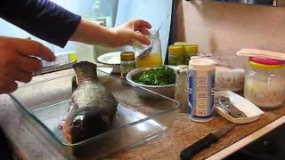 Приготовление запеченой рыбы с зеленью Рецепты Маргариты  Alexander Zakurdaev