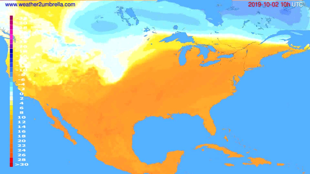 Temperature forecast USA & Canada // modelrun: 12h UTC 2019-09-29