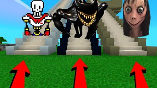 Minecraft PE : DO NOT CHOOSE THE WRONG STAIRCASE! (Papyrus, Beast Bendy, Momo)