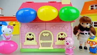 Baby doll and Hello kitty friends house with surprise eggs toys play