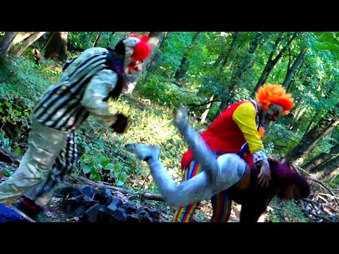 CREEPY CLOWNS BEAT UP KID IN THE WOODS!