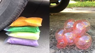 CRUSHING CRUNCHY Vs SOFT THINGS By CAR! Floral Foam, Bath Bombs and More ASMR