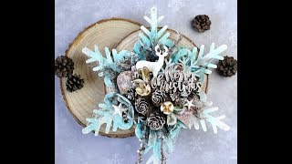 Mixed Media Altered Art Wooden Snowflake By Olga Bielska