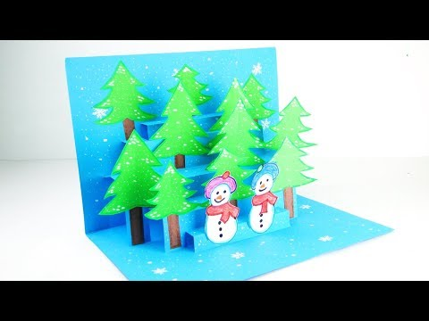 3D Christmas Pop Up card | Christmas Pop Up Greeting Card Tutorial Easy DIY