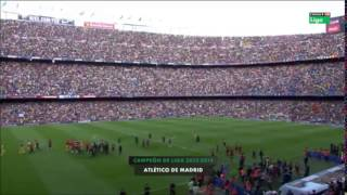 preview picture of video 'standing Ovation at Camp Nou for new Champions od spanish la Liga'