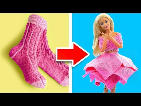 DIY BARBIE HACKS AND CRAFTS: Making Easy Clothes for Barbies Doll From Old Socks #2