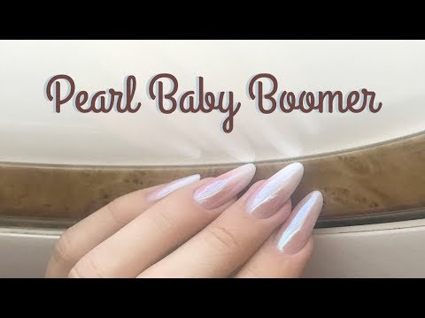 Acrylic pearl baby boomer almond nails
