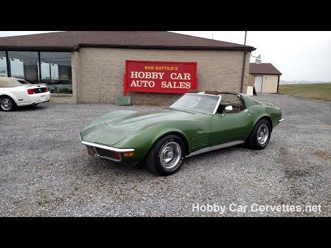 1972 Survivor Elkhart Green Corvette T Top Stingray 4spd Video