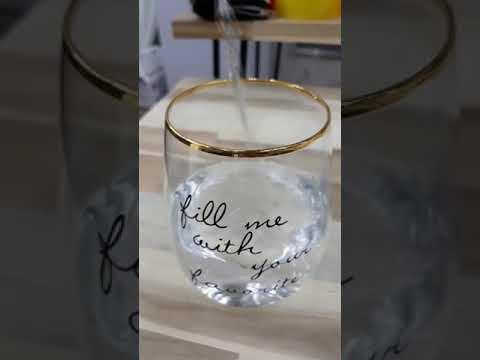 물을 넣으면 하트색깔이 변하는 엘레강스 골드 유리컵