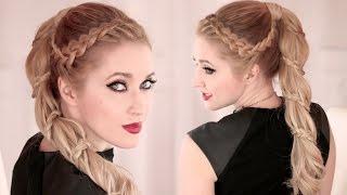 Смотреть онлайн Французская спиральная коса на высоком хвосте