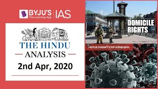 'The Hindu' Analysis for 2nd April, 2020. (Current Affairs for UPSC/IAS)