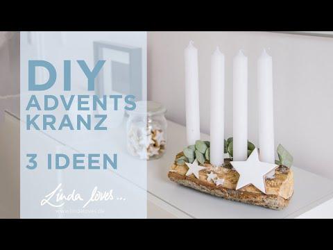 Adventskranz selber machen - 3 DIY Ideen - moderne Adventsdeko im Scandi Stil Weihnachten 2018