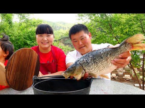 """7斤大鱼,教你做""""香辣锅仔鱼"""",先炸后炖,香辣入味,比饭店的都好吃!【陕北霞姐】"""