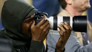 Kevin Durant On Super Bowl Sidelines As Photographer