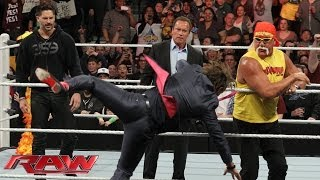 Arnold Schwarzenegger and Joe Manganiello join Hulk Hogan in the ring: Raw, March 24, 2014