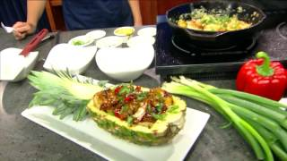 "Chef Ausar AriAnkh, ""The Kitchen Magician"" creates teriyaki shrimp stuffed pineapple"