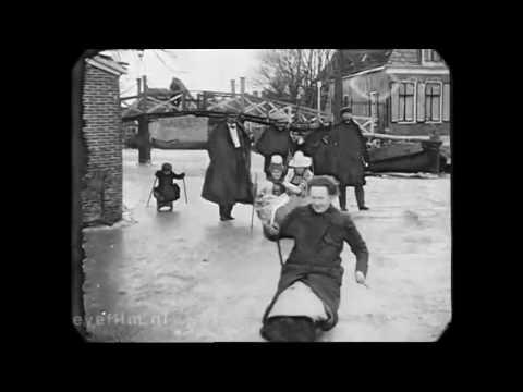 Winterse beelden uit 1917 Nederland of Holland