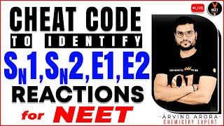 Tricks To Identify SN1, SN2, E1 And E2 Reactions | NEET Chemistry Cheat Codes #10 | Arvind Sir