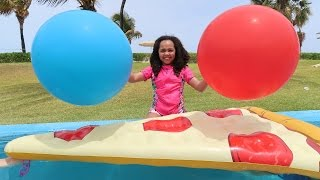 Giant Balloon Challenge Surprise Toys Pool Party - Shopkins - Superhero Ooshies - Disney Toys