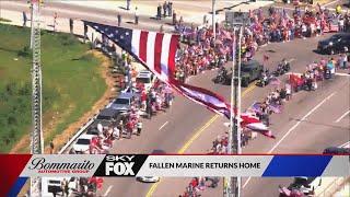 Massive procession on I-70 for a fallen Marine