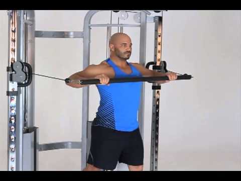 Standing Cable Chest Press with Dual Attachment Bar