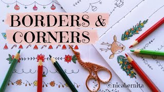 EASY BORDER & CORNER DESIGNS FOR PROJECTS 🎅 BORDER DESIGNS ON PAPER🎄HOLIDAY DOODLE IDEAS
