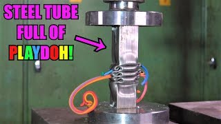 Crushing Stuffed Steel Pipes with Hydraulic Press | ODDLY SATISFYING!