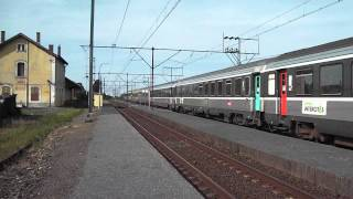 preview picture of video 'La BB 7229 tractant un intercités Toulouse - Hendaye en gare d'Ossun'