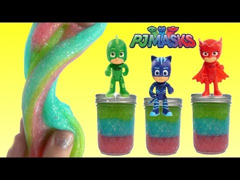 Make your own D.I.Y. Do It Yourself PJ MASKS SLIME Owlette, Catboy, Gekko Glitter Rainbow Slime