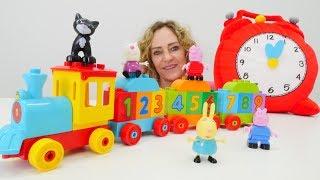 Peppa Wutz Spielzeuge. Zahlen lernen auf Deutsch.