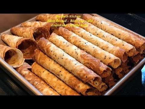 Crispy Waffle Rolls _ Very crispy and delicious Vietnamese version KrumKake Recipe