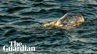 Cancer survivor becomes first person to swim Channel four times non-stop