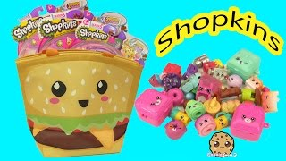 Shopkins Season 5 Packs with Surprise Blind Bags In Burger Bag Cookieswirlc Video